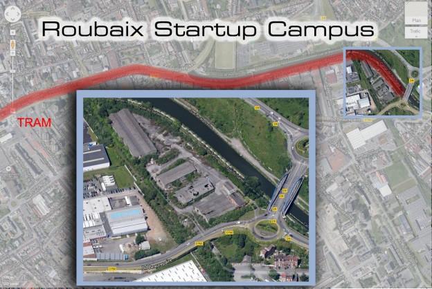 Vue aérienne du projet startup campus pour roubaix